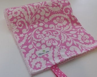 Baby  Girl  Minky Blanket-Girly Collection-Pink Damask - Size (32x25)