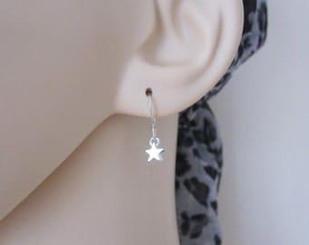 Tiny sterling silver STAR dangle earrings, everyday, girls earrings