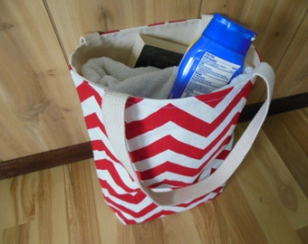 Chevron Small Beach tote/Gym Bag/Pool bag/Carrying Tote-Red and white Reversible