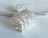 TREASURE CHEST Large Sterling Silver Moving Charm Opens To TREASURE Fits All Slide On Bracelets