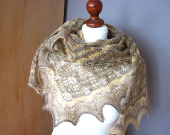 Toffee brown - hand knitted shawl cashmere