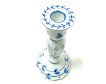 Blue and White Ceramic Candle Holder - Vintage Hand Painted Pottery Candle Stick