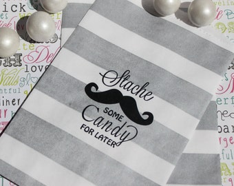 """200 Personalized Wedding Candy Bags, """"Stache Some Candy for Later"""" with Names and Date, Mustache Design Favor Bags, Popcorn Bags, Candy Bags"""