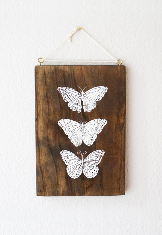 Etsy Butterfly Wall Decor : Items similar to butterfly screenprinted wood wall art