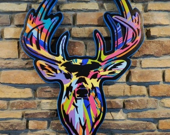 Life size Deer Head spin painted with black and cyan trimmed background