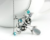 Labradorite Fine Silver Necklace -  Victorian Necklace - Gothic - Wire Wrapped Necklace
