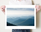 Blue Ridge Mountains photography print. Asheville North Carolina landscape photograph. Large misty mountains artwork, oversized art print