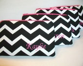 Set of 4 Medium - Personalized Bridesmaid Gift - Monogrammed Zippered Pouch - Makeup Bag - Clutch  - Wallet - Chevron - Design Your Own