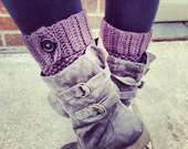 Custom Boot Cuffs with Buttons, Boot Toppers, Leg Warmers, Knit Boot Cuffs