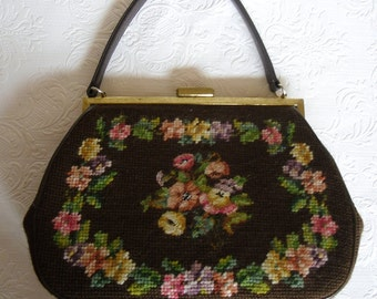 Vintage Womens Handbag - Tapestry Purse - Chocolate Brown Needlepoint and Brown Leather