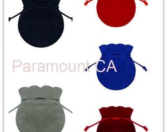 "3""x3.5"" Round Shape Jewelry Pouches Velour Velvet Bags Favor Gift Bags Pack of 12 Velveteen Bags"
