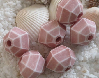 Vintage Acrylic Unique Beads - 19mm x 17mm - Rosy Beige - 6 pcs