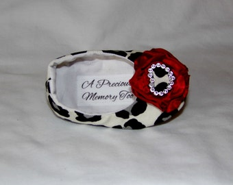 Black and Gray Leopard Print Soft Sole Baby Shoes with Red Flowers Size 3, 6-9 months