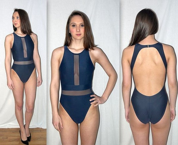 Going Solar Vintage 90s Navy Swimsuit One Piece 1 Pc