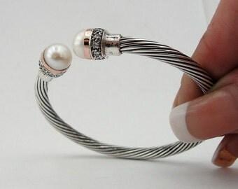 Amazing Antique Style  9K Rose Gold Silver Pearl CZ Bracelet