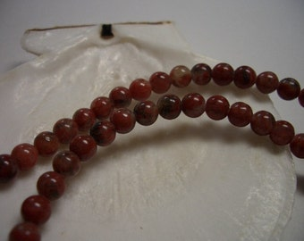 Natural Jasper, 4mm round Red Sesame Jasper beads, earth tones, 4mm gemstone beads, full strand, red brown, 4mm gemstone beads, Jasper beads