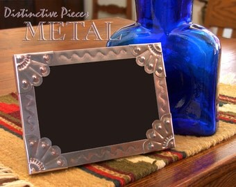 """Metal Picture Frame, Vines - Southwestern Style, New Mexican Punched Tinwork, 5 x 7"""" Photo Frame, Folk Art, Metal Punchwork Frame, FM0507-Y"""