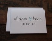 Wedding Thank You Cards with Envelopes / Custom Name Bride & Groom with Date and Heart/  Couples / Set of 10