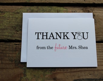 Thank You From The Future Mrs. Bridal Shower Cards, Thank You Notes, Future Last Name, Custom, Set of 10