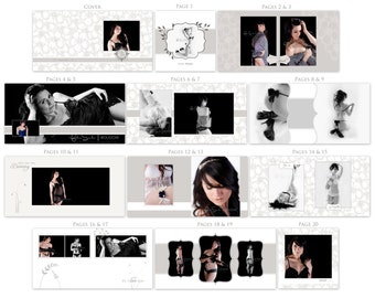 """QUICK SALE 8x8 Layflat Book Template """"Boudoir Bliss"""" - 20 Pages - 10 Spreads WHCC, Burrell Imaging, Millers Lab, Weddings, Boudoir"""