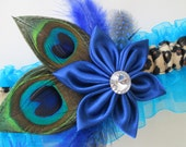 Royal Blue Wedding Garter, Peacock Garters, Royal Blue HomecomingGarter, Leopard / Cheetah Garter, Turquoise / Teal Blue Garter