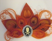 Orange PEACOCK Wedding Hair Piece, Orange Feather Hair Clip, Pumpkin Orange Bridal Fascinator, Halloween / Steampunk , Skull Cameo
