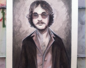 Warren Zevon Watercolor  (ORIGINAL) 5X7