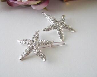 Star Fish Beach Theme Rhinestone Bridal Hair Clip Set Accessory Bridal Wedding Jewelry