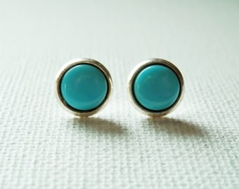 Turquoise Earrings - Turquoise and Silver - Turquoise Studs - Turquoise Earring stud
