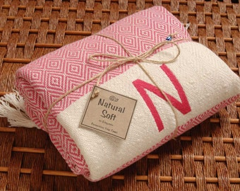 Personalized HandWoven Turkish Towel PINK Diamond COTTON PESHTEMAL - Monogrammed Embroidered