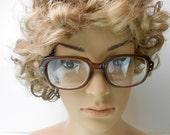 Vintage Romco eyeglasses unisex military geek alert eyewear military eyewear hormrim glasses brown plastic eyeglass frames