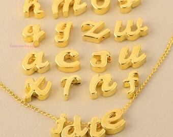 Wholesale-130 pcs-New font letters- gold- 5 sets-alphabet-  initial charms-F1069-fit through chains