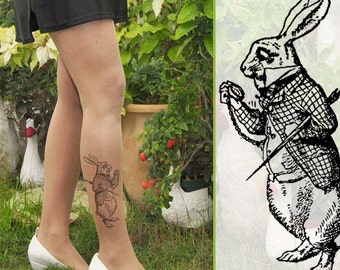 SALE -Trending Items - RABBIT- Alice in  WONDERLAND - Tattoo Tights
