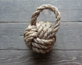 Knotted Monkey Fist Rope Door Stop or Book End Great Decor Rustic Nautical