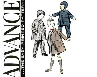 1950s Boys Coat and Cap Pattern Advance 8499 UNCUT Chest 23 Suspender Pants Beanie Raglan Sleeve Coats Childrens Vintage Sewing Patterns