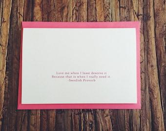 When I Least Deserve It - Coral Envelope