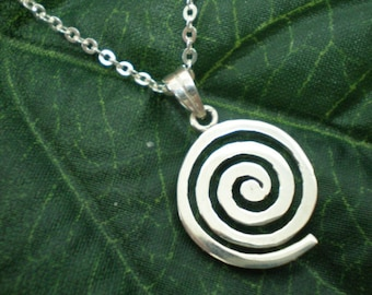 Sterling Silver Single Spiral Necklace Pendant - Ancient Astrology - Growth, Birth, Expansion of Consciousness