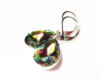 VITRAIL DARK Rainbow Pear Glass Jewel Earrings