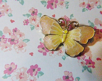 Vintage Pink and Yellow Glittery Butterfly Brooch - BUT-56