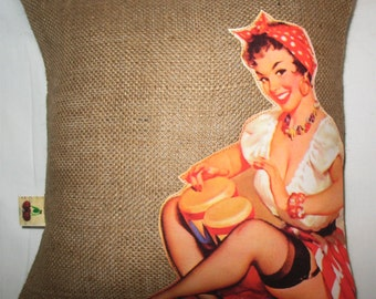 """OOAK Vintage Designer White and Natural Burlap12x12"""" Pillow Cover Handprinted  Gil Elvgren Pinup """"Always in Time"""" Applique"""
