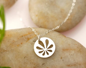Sterling Silver Origami Flower Necklace, simple, everyday, gift