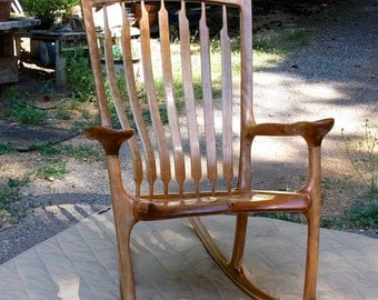 Cherry Wood and Ash Sculpted Wood Rocking Chair