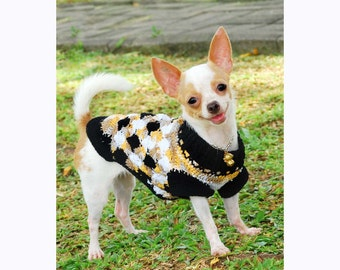 Argyle Dog Clothes Cute Cotton Chihuahua Clothes Handmade Crochet Black White Pet Clothing DK820 by Myknitt - free shipping