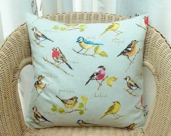Bird pillow cover, birder pillow cover, robin pillow cover, wild bird pillow cover, twitcher cushion cover