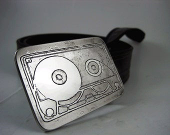 Cassette Tape Belt Buckle - Etched Stainless Steel - Handmade