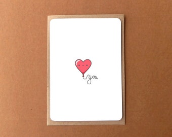 Greeting card - Love you, with cute heart balloon and glitter accent