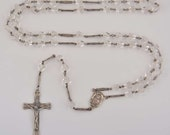 """Vintage Cut Crystal 25"""" Sterling Silver ROSARY Beads Religious Jewelry"""