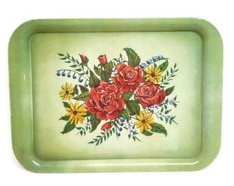 Lithographed Metal Tray: Green Floral Design