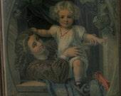 Antique 1881 Geo Stinson Papa Papa  Lithograph in Original 15 x 12  Frame
