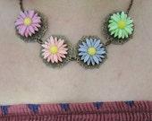 OOAK Pastel Daisy Bib Necklace